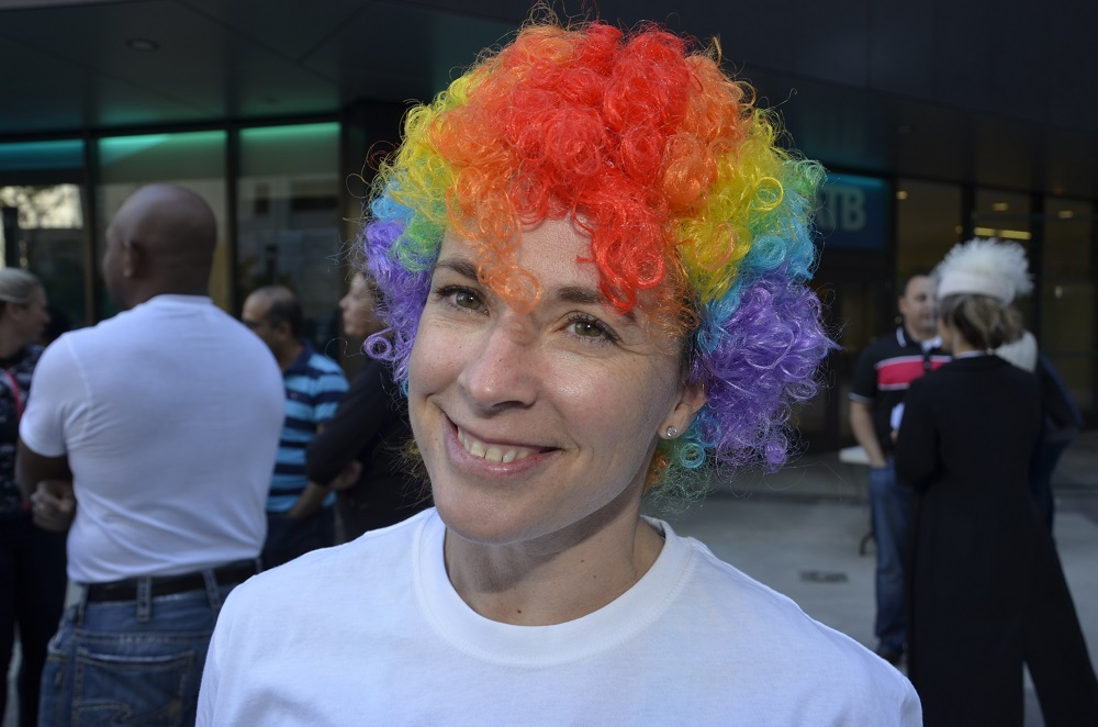 Woman with multicolored wig